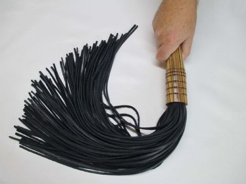 LIMITED EDITION - Zebrano Hard Wood Handled, 3mm wide Black Falls Leather Flogger (Flog1)